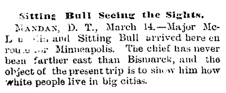 An article about Sitting Bull, Trenton Evening Times newspaper article 14 March 1884