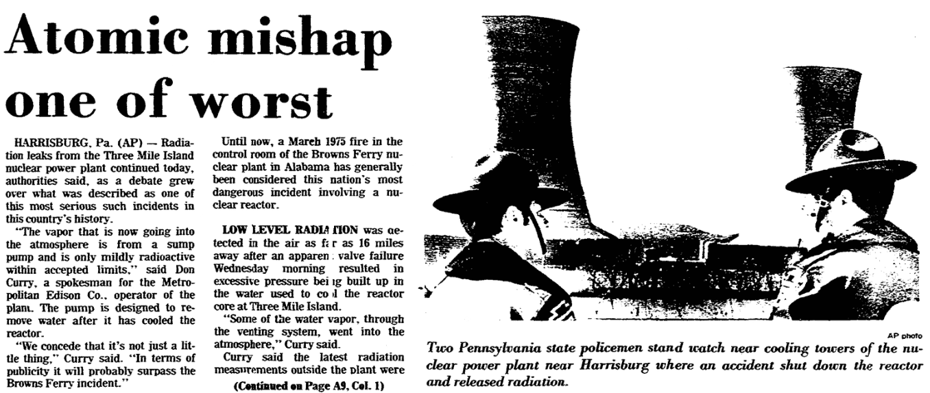 An article about the accident at the Three Mile Island nuclear plant, Trenton Evening Times newspaper article 29 March 1979