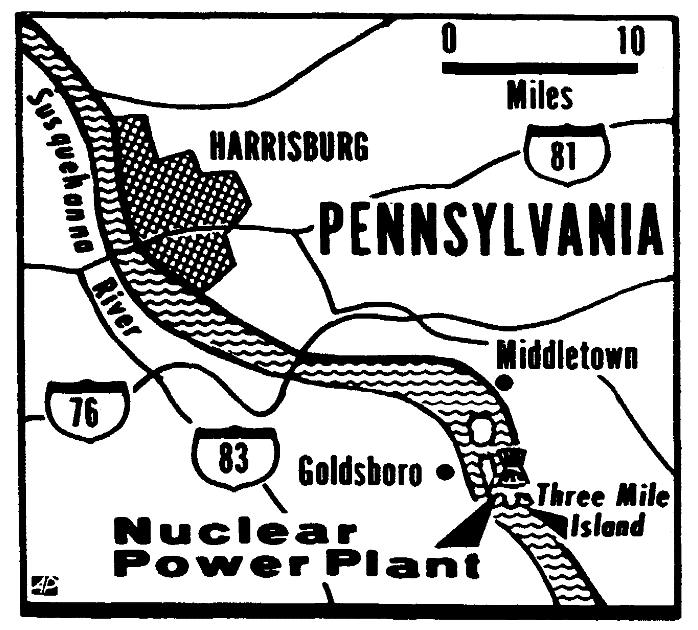 A map of the Three Mile Island nuclear plant, Trenton Evening Times newspaper article 29 March 1979