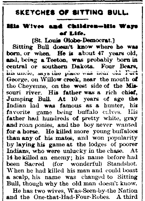 An article about Sitting Bull, Trenton Times newspaper article 31 July 1884