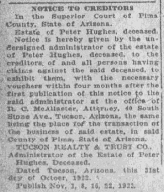 A probate notice, Tucson Daily Citizen newspaper article 15 November 1922