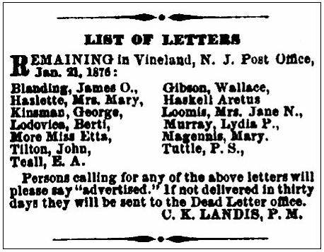 An article about Aretus Haskell, Vineland Advertiser newspaper article 22 January 1876