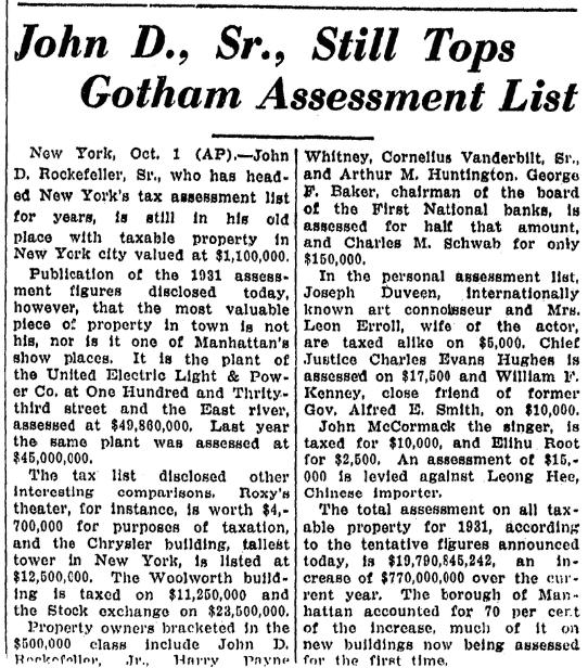 A tax assessment list, Advocate newspaper article 2 October 1930