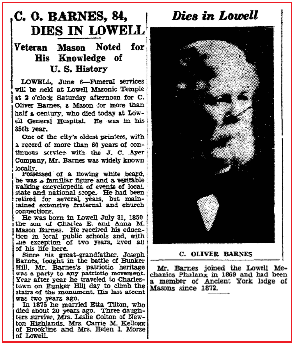 An obituary for Charles Barnes, Boston Herald newspaper article 7 June 1935