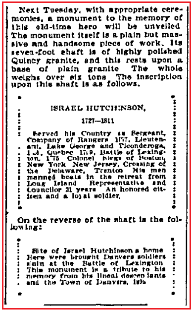 An article about Israel Hutchinson, Boston Journal newspaper article 6 November 1896