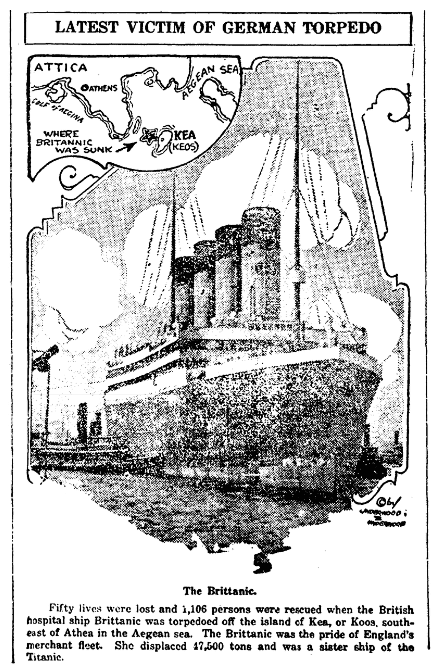 An article about the sinking of the Britannic, Columbia Record newspaper article 27 November 1916