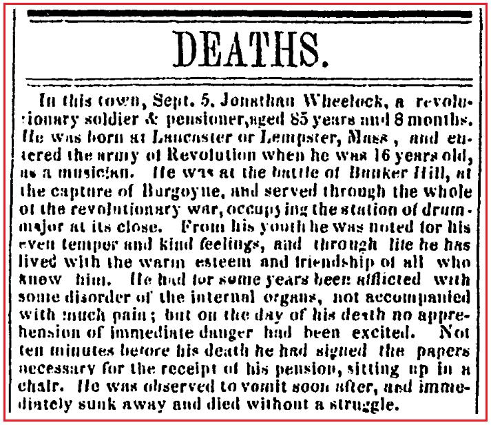 An obituary for Jonathan Wheelock, Congregational Journal newspaper article 17 September 1845
