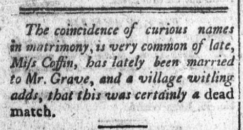 An article about curious and amusing names, Constitutional Telegraph newspaper article 4 November 1801
