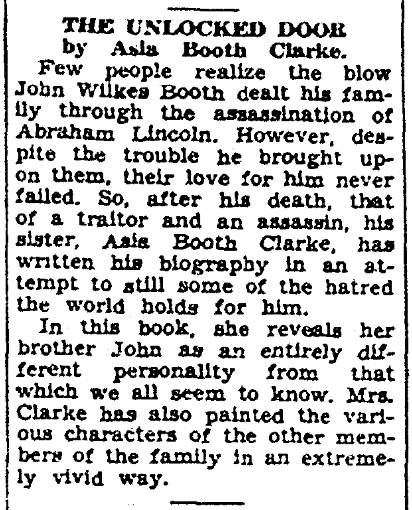 An article about John Wilkes Booth, Daily Advocate newspaper article 4 November 1938