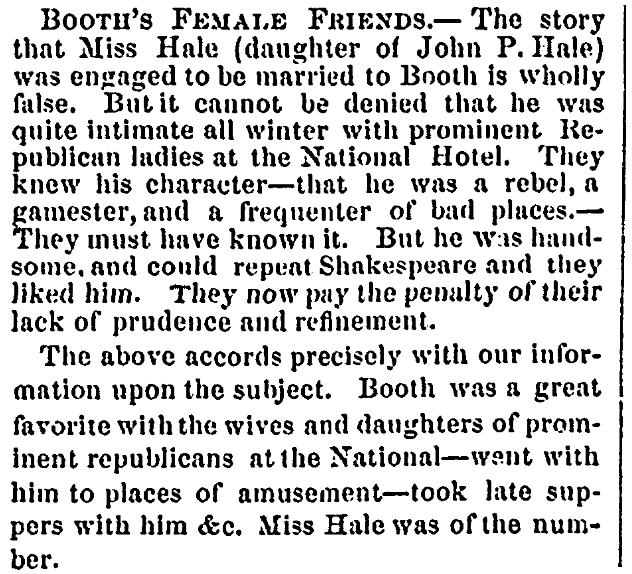 An article about John Wilkes Booth, Daily Eastern Argus newspaper article 29 April 1865