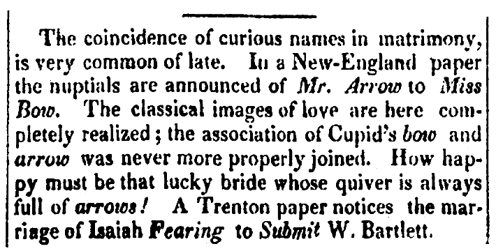 An article about curious and amusing names, Daily National Journal newspaper article 24 November 1824