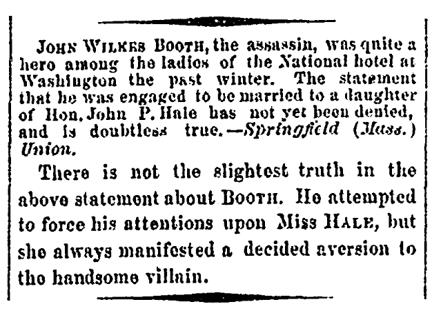 An article about John Wilkes Booth, Daily National Republican newspaper article 24 April 1865