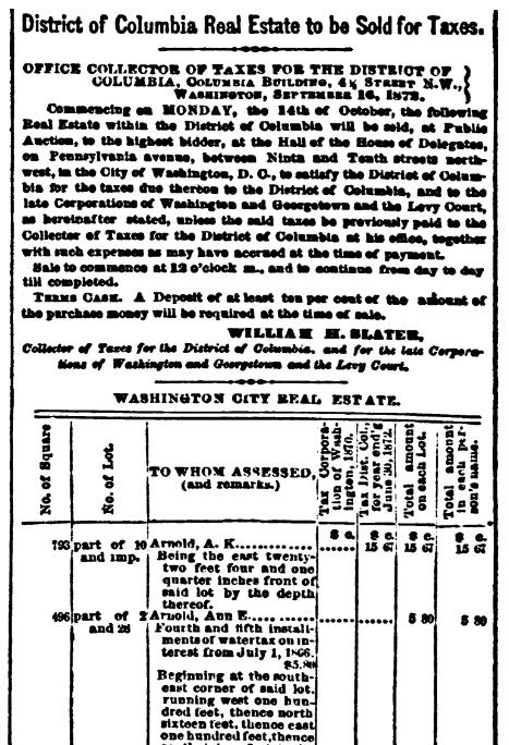 A tax list, Evening Star newspaper article 3 October 1872