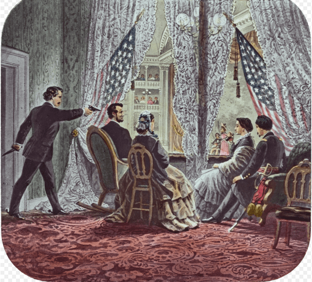 "Illustration: John Wilkes Booth leaning forward to shoot President Abraham Lincoln as he watches ""Our American Cousin"" at Ford's Theatre in Washington, D.C., 14 April 1865"