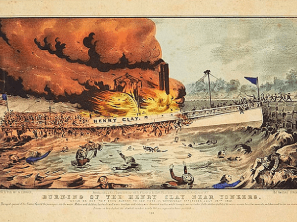 """Illustration: """"Burning of the Henry Clay near Yonkers"""" by Nathaniel Currier, 1852. Source: Springfield Museum, Springfield, Massachusetts."""