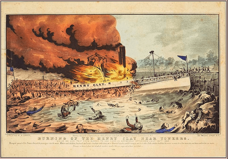 """Illustration: """"Burning of the Henry Clay near Yonkers"""" by Nathaniel Currier, 1852"""