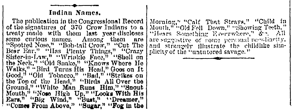 An article about curious and amusing names, Jersey Journal newspaper article 1 April 1891