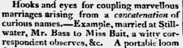 An article about curious and amusing names, Lynchburg Press newspaper article 9 July 1810
