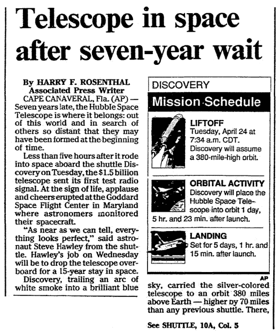 An article about the Hubble Space Telescope, Mobile Register newspaper article 25 April 1990
