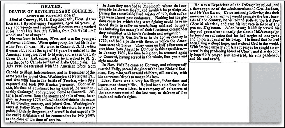 An obituary for Amos Barnes, New Hampshire Gazette newspaper article 12 January 1841