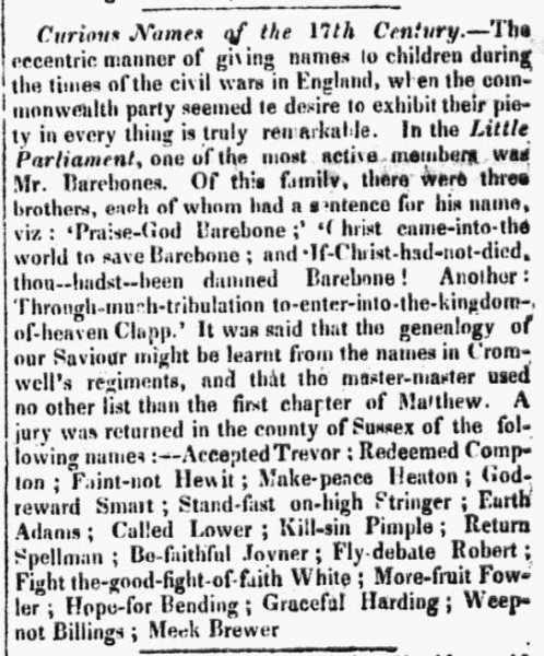 An article about curious and amusing names, New Hampshire Patriot and State Gazette newspaper article 26 April 1830