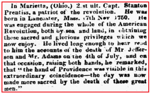 An obituary for Stanton Prentiss, New Hampshire Patriot and State Gazette newspaper article 28 August 1826