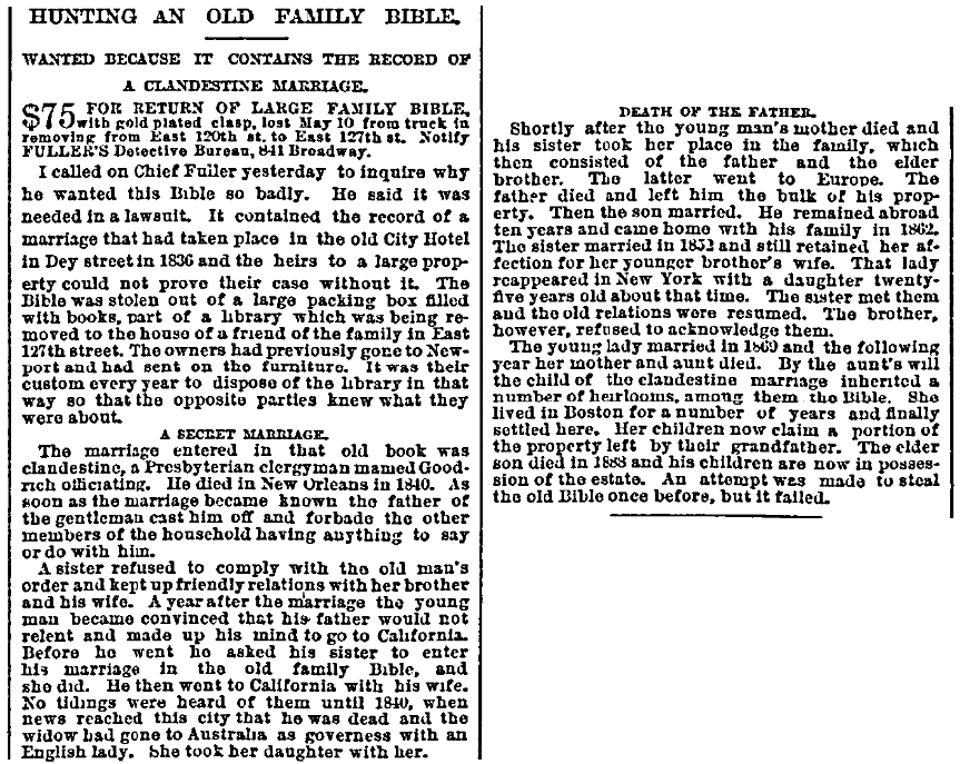 An article about a family Bible, New York Herald newspaper article 27 May 1889
