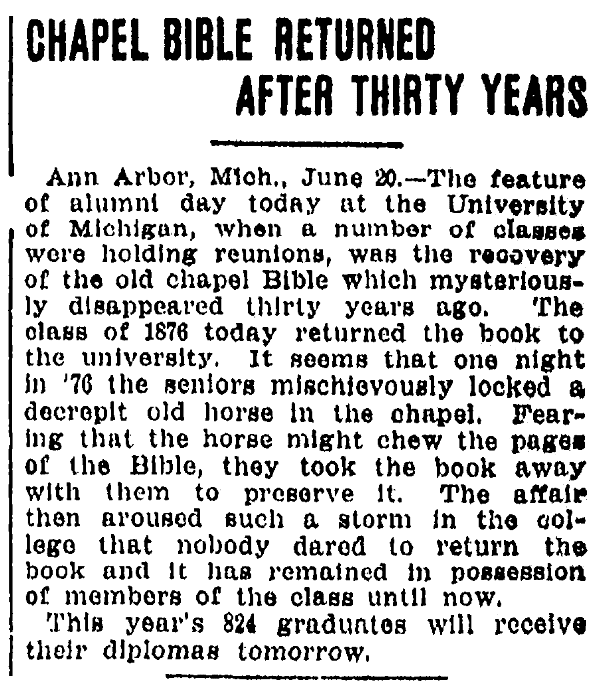 An article about a Bible, Omaha World-Herald newspaper article 21 June 1906