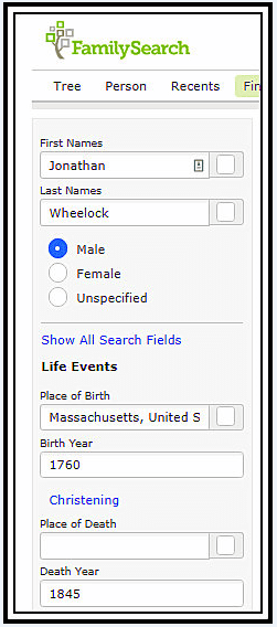 A screenshot of FamilySearch's search page showing a search for Jonathan Wheelock