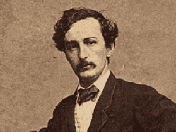 Photo: detail from a Carte de Visite of John Wilkes Booth, undated. Credit: Black & Case; Wikimedia Commons.