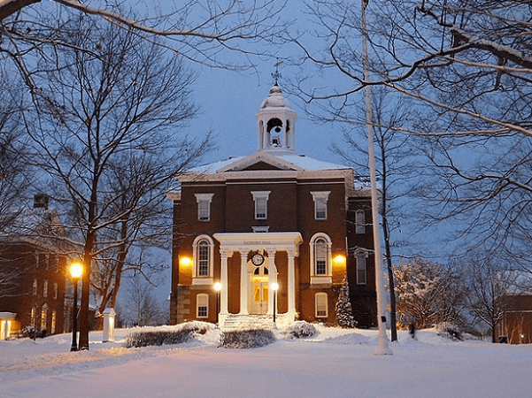 Photo: Hathorn Hall at Bates College, located in central Lewiston, Maine. Credit: Odwallah; Wikimedia Commons.