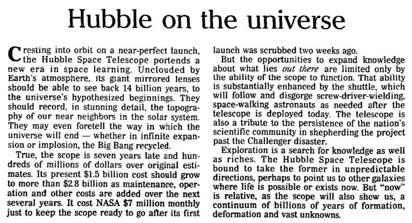 An article about the Hubble Space Telescope, Plain Dealer newspaper article 25 April 1990