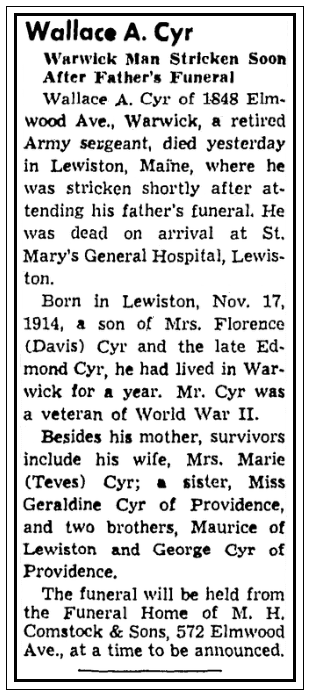 An obituary for Wallace Cyr, Providence Journal newspaper article 14 March 1959