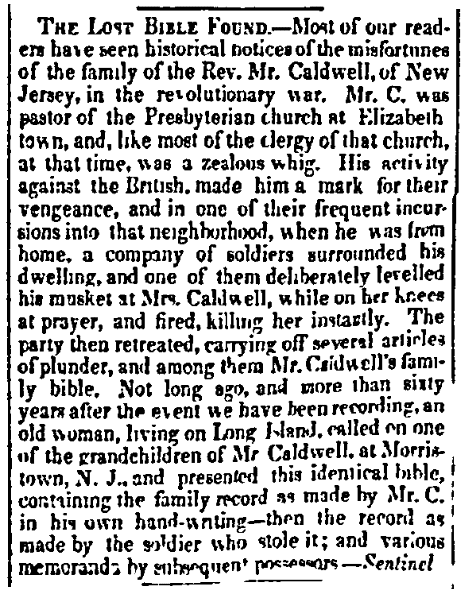 An article about a family Bible, Public Ledger newspaper article 26 September 1840