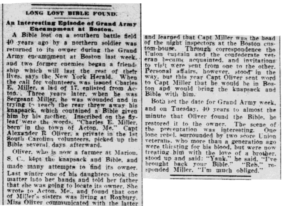 An article about a family Bible, Springfield Republican newspaper article 22 August 1904
