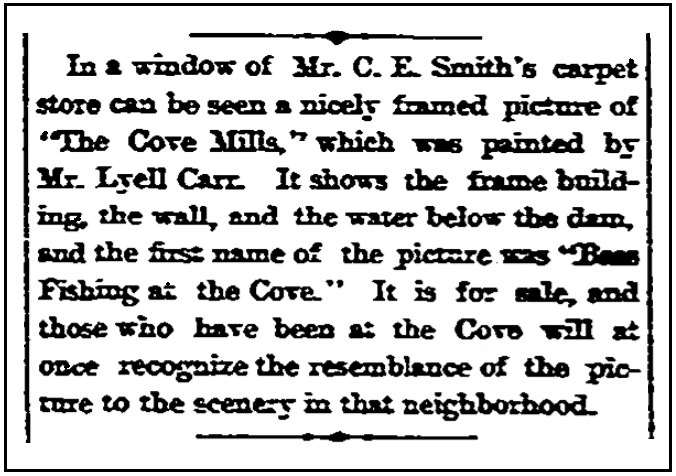 An article about a painting by Lyell Edwin Carr, Stamford Advocate newspaper article 5 September 1890