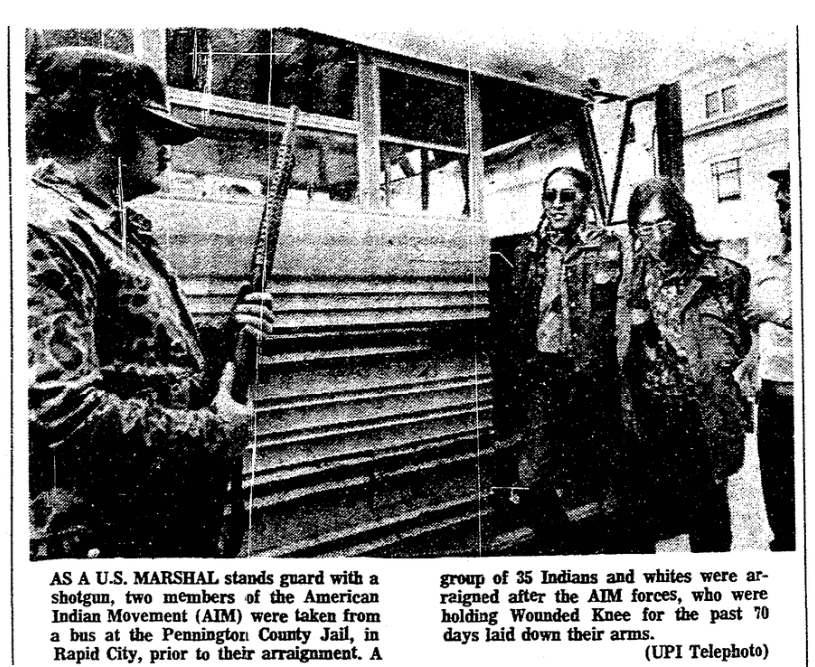 An article about the occupation of Wounded Knee, South Dakota, Aberdeen Daily News newspaper article 9 May 1973