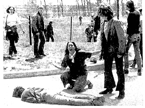 A photo from an article about the Kent State Shootings, Advocate newspaper article 5 May 1970
