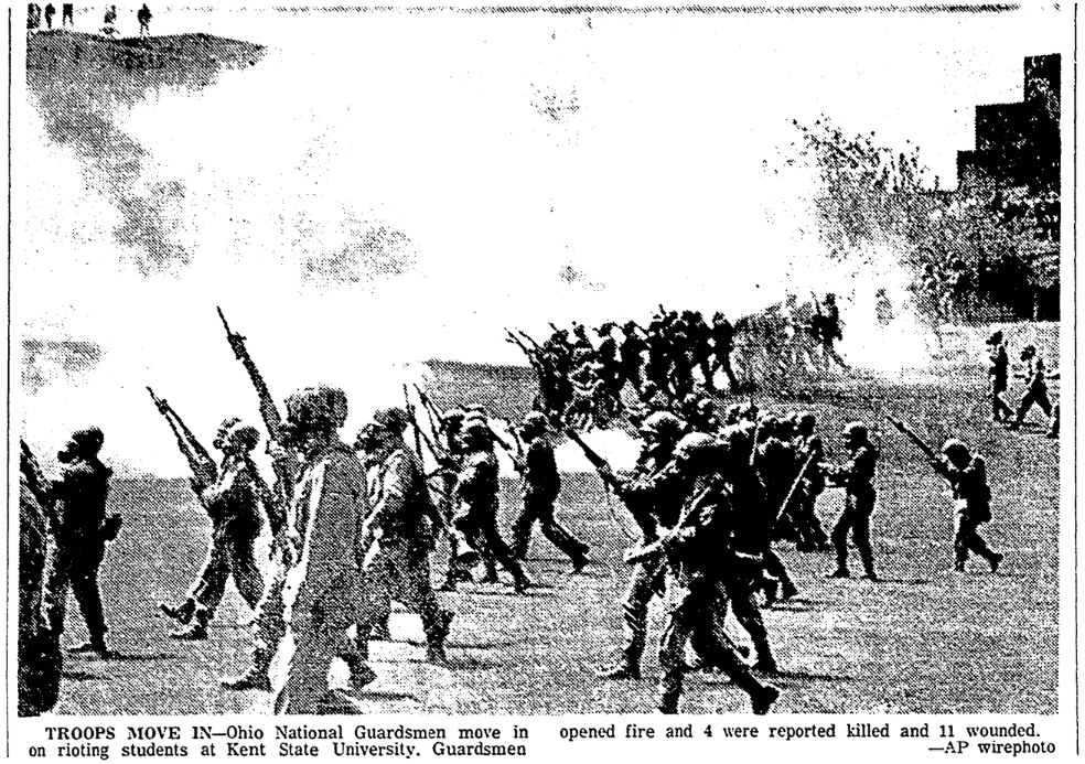 A photo of the Kent State Shootings, Advocate newspaper article 5 May 1970