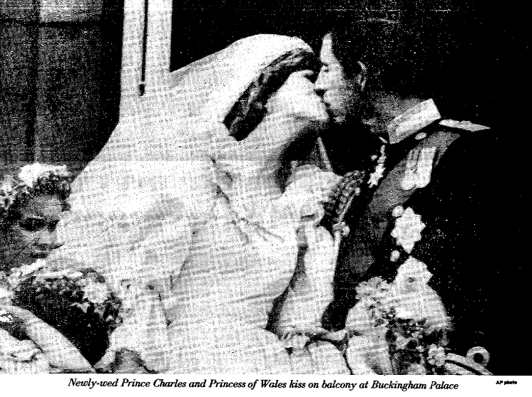 An article about the wedding of Prince Charles and Lady Diana, Advocate newspaper article 30 July 1981