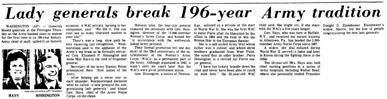 An article about the first two women generals in U.S. Army history, Augusta Chronicle newspaper article 12 June 1970