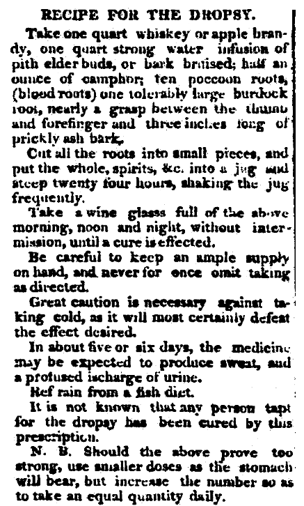 An article about a cure for dropsy, Augusta Chronicle newspaper article 18 June 1819