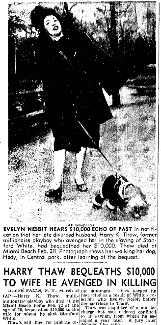 An article about Evelyn Nesbit, Boston Herald newspaper article 30 March 1947