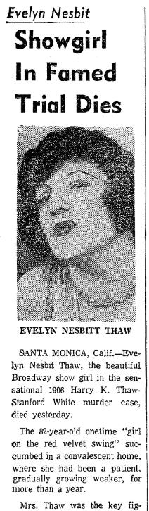 An obituary for Evelyn Nesbit, Boston Traveler newspaper article 18 January 1967