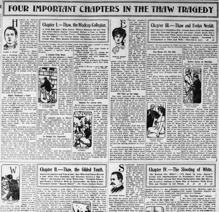 An article about the murder of Stanford White by Harry Thaw, the husband of Everlyn Nesbit, Charlotte Observer newspaper article 17 February 1907