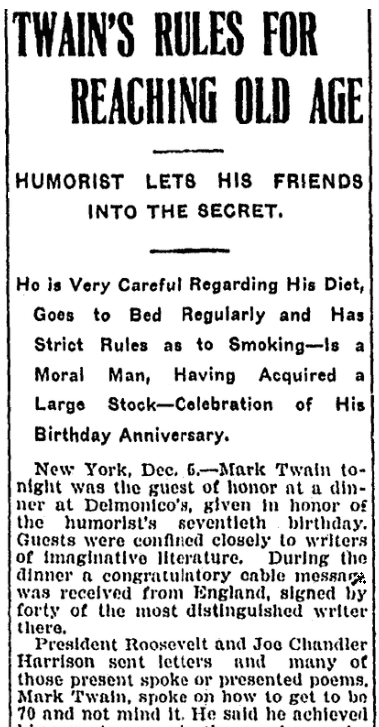 An article about Mark Twain, Daily Illinois State Journal newspaper article 6 December 1905