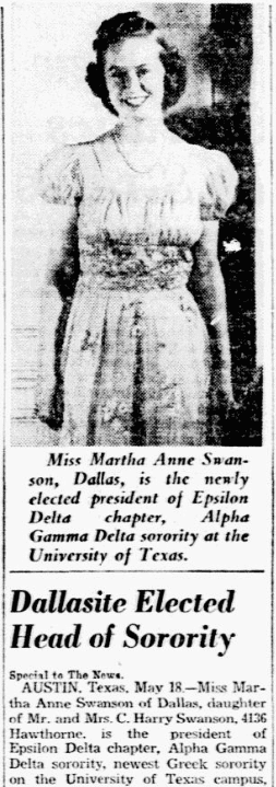 An article about Martha Swanson, Dallas Morning News newspaper article 19 May 1940