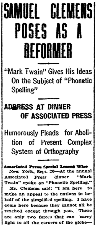 An article about Mark Twain, Evening Tribune newspaper article 20 September 1906