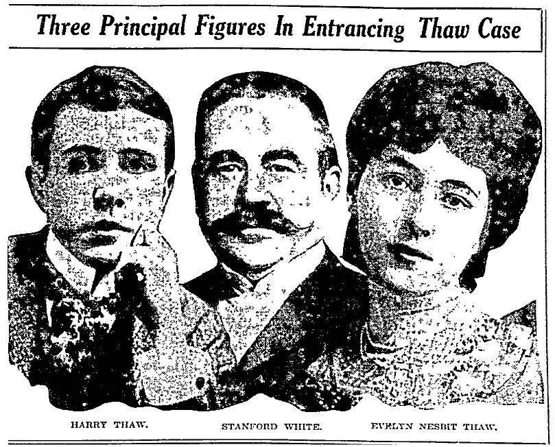 An article about the murder of Stanford White by Harry Thaw, the husband of Everlyn Nesbit, Fort Worth Star-Telegram newspaper article 15 January 1908