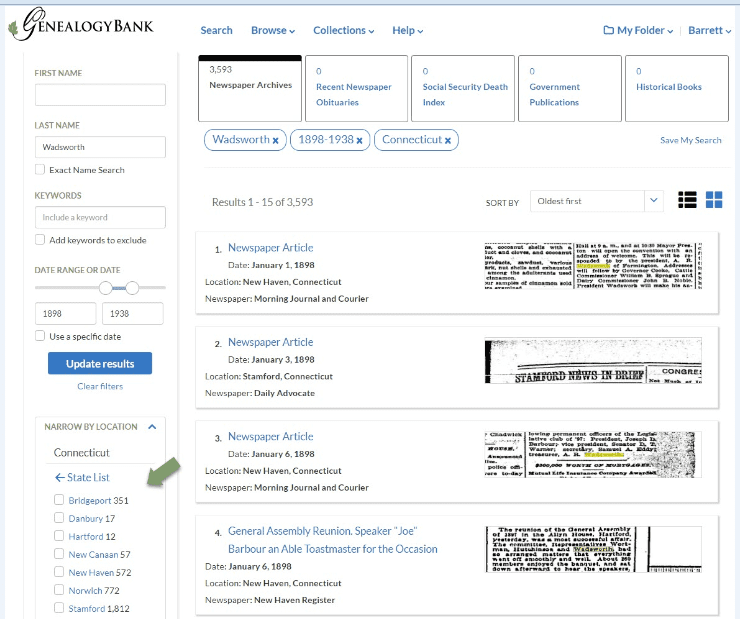 A screenshot of GenealogyBank's Search Results page showing navigation features